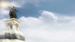 Hero monument with Timelapse clouds and sun rays Stock Video Footage