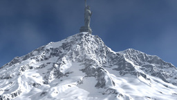 Mountain and Liberty Statue with torch Animation
