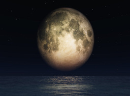 Full moon and open ocean,great to add your text or logo Stock Video Footage