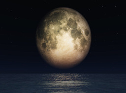 Full moon and open ocean,great to add your text or logo Animation