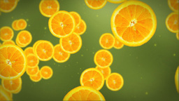 Orange slice on green Stock Video Footage
