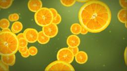 Orange slice on green Animation