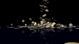 SALES with EURO coins falling Stock Video Footage