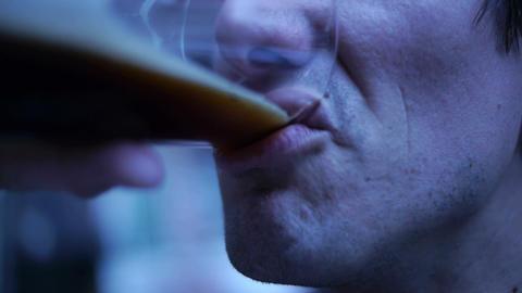Man Drinks Beer 01 Stock Video Footage