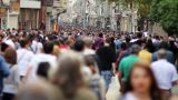 people walking in a crowded street, timelapse Footage