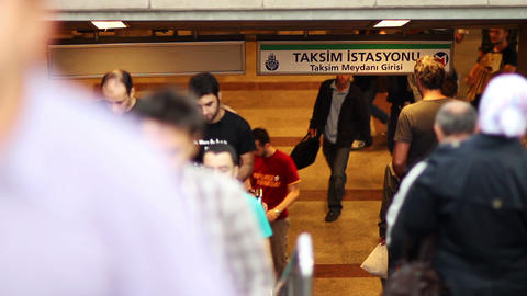 crowded metro steps in taksim, istanbul Stock Video Footage