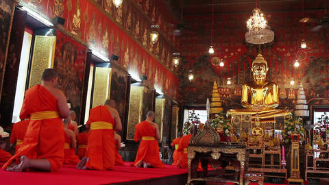 buddhist monks pray in temple Live Action