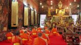 buddhist monks pray in temple Footage
