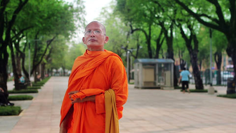 buddhist monk at street Stock Video Footage
