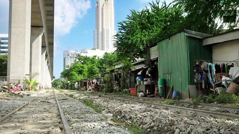Railroad Slums Stock Video Footage