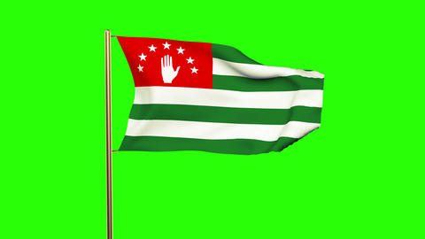 Abkhazia flag waving in the wind. Green screen, alpha matte. Loopable animation Animation