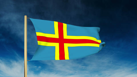 Aland Islands flag slider style. Waving in the win with cloud background animati Animation