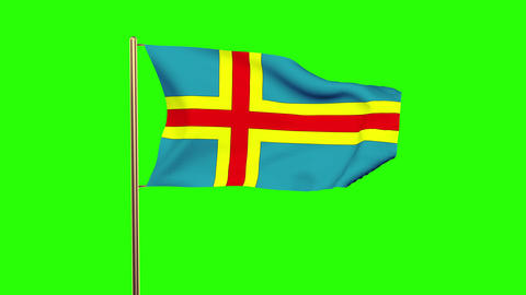 Aland Islands flag waving in the wind. Green screen, alpha matte. Loopable anima Animation
