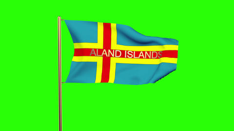 Aland Islands flag with title waving in the wind. Looping sun rises style. Anima Animation