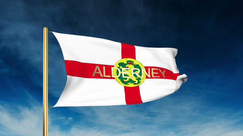 Alderney flag slider style with title. Waving in the wind with cloud background  Animation