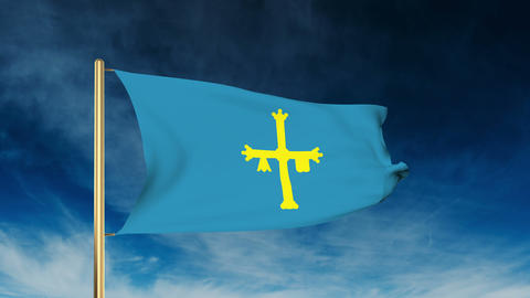 Asturias flag slider style. Waving in the win with cloud background animation Animation