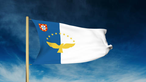 Azores flag slider style. Waving in the win with cloud background animation Animation