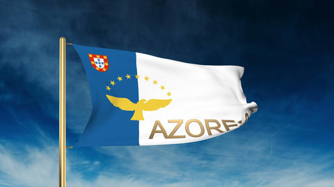 Azores flag slider style with title. Waving in the wind with cloud background an Animation
