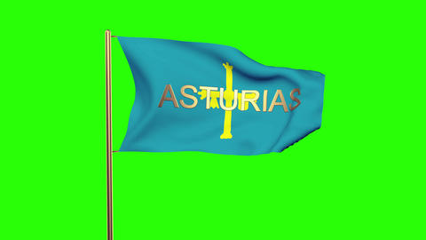 Asturias flag with title waving in the wind. Looping sun rises style. Animation  Animation