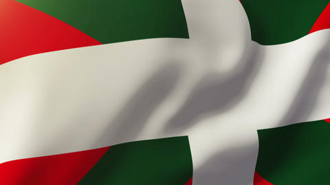 Basque flag waving in the wind. Looping sun rises style. Animation loop Animation