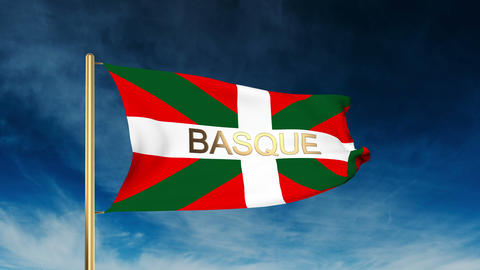 Basque flag slider style with title. Waving in the wind with cloud background an Animation