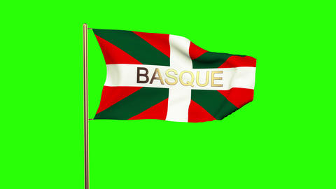 Basque flag with title waving in the wind. Looping sun rises style. Animation lo Animation