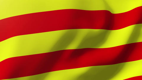 Catalonia flag waving in the wind. Looping sun rises style. Animation loop Animation