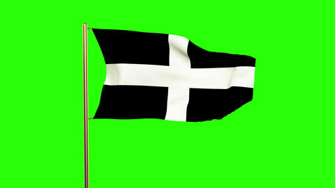 Cornwall flag waving in the wind. Green screen, alpha matte. Loopable animation Animation