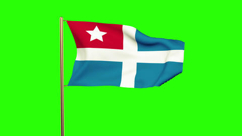 Cretan State flag waving in the wind. Green screen, alpha matte. Loopable animat Animation