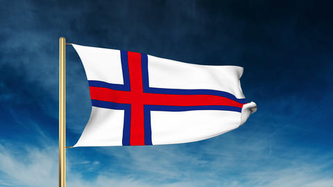 Faroe Islands flag slider style. Waving in the win with cloud background animati Animation