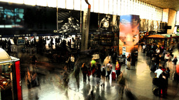 rome termini train transport station people crowds travel Footage
