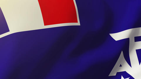 French Southern And Antarctic Lands flag waving in the wind. Looping sun rises s Animation