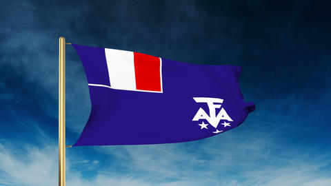 French Southern And Antarctic Lands flag slider style. Waving in the win with cl Animation