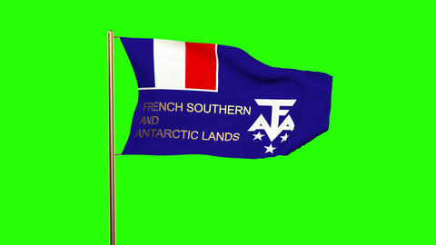 French Southern And Antarctic Lands flag with title waving in the wind. Looping  Animation
