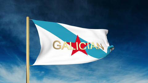 Galician Nationalist Youth flag slider style with title. Waving in the wind with Animation