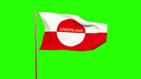 Greenland flag with title waving in the wind. Looping sun rises style. Animation Animation