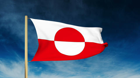 Greenland flag slider style. Waving in the win with cloud background animation Animation
