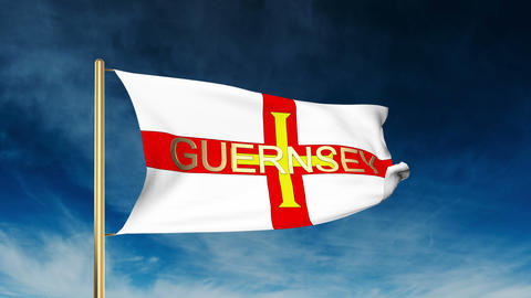 Guernsey flag slider style with title. Waving in the wind with cloud background  Animation