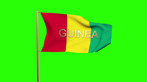 Guinea flag with title waving in the wind. Looping sun rises style. Animation lo Animation