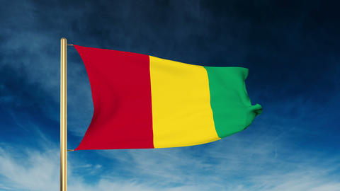Guinea flag slider style. Waving in the wind with cloud background animation Animation