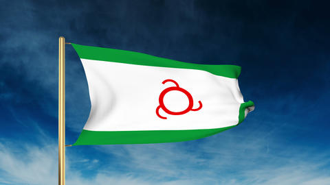 Ingushetia flag slider style. Waving in the win with cloud background animation Animation