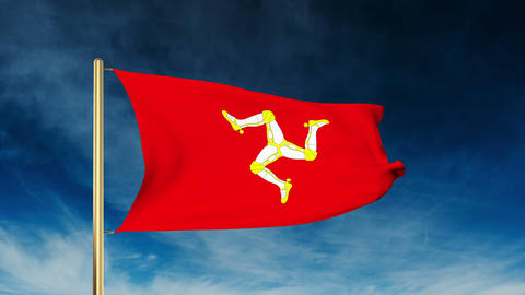 Isle Of Man flag slider style. Waving in the win with cloud background animation Animation