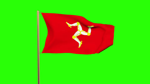 Isle Of Man flag waving in the wind. Green screen, alpha matte. Loopable animati Animation