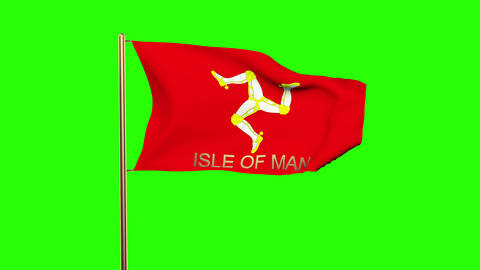 Isle Of Man flag with title waving in the wind. Looping sun rises style. Animati Animation