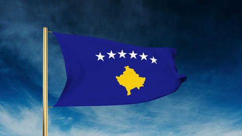 Kosovo flag slider style. Waving in the win with cloud background animation Animation
