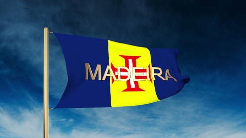 Madeira flag slider style with title. Waving in the wind with cloud background a Animation
