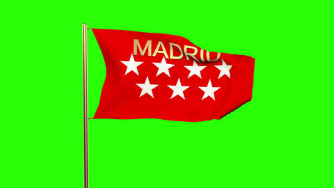 Madrid flag with title waving in the wind. Looping sun rises style. Animation lo Animation