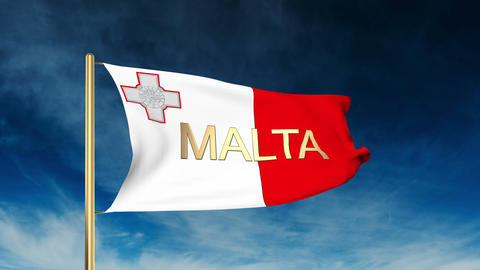Malta flag slider style with title. Waving in the wind with cloud background ani Animation