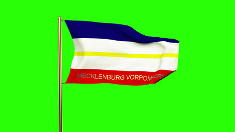 Mecklenburg Vorpommern flag with title waving in the wind. Looping sun rises sty Animation