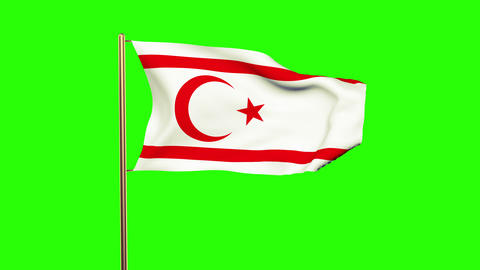 North Cyprus flag waving in the wind. Green screen, alpha matte. Loopable animat Animation